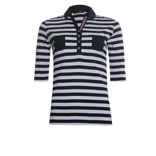 Roberto Sarto dameskleding t-shirts & tops - t-shirt polo streep rib jersey. beschikbaar in maat 42,44,46 (multicolor)