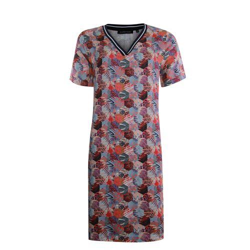 Anotherwoman dameskleding jurken - v-hals jurk in multicolour print. beschikbaar in maat 36,40,42 (blauw,ecru,multicolor,rood)