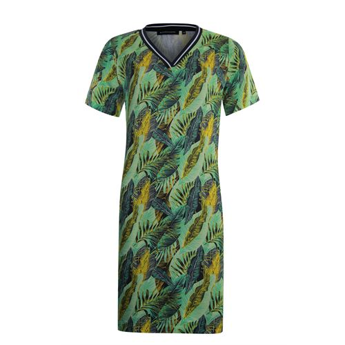 Anotherwoman ladieswear dresses - v-neck dress in multicolour print. available in size 38,40,44 (green,multicolor,off-white,yellow)