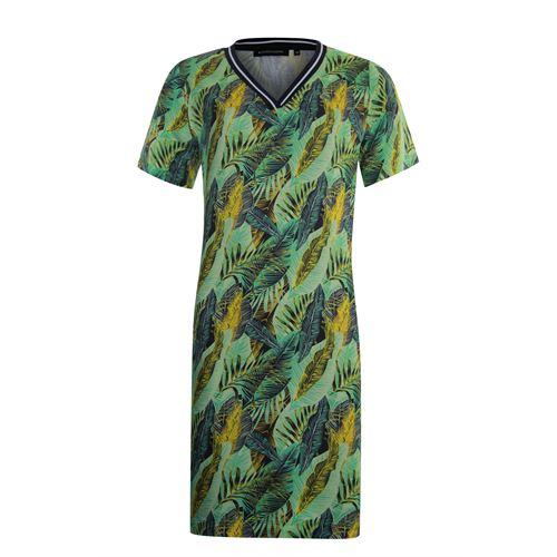 Anotherwoman dameskleding jurken - v-hals jurk in multicolour print. beschikbaar in maat 36,38,40,42,44,46 (ecru,geel,groen,multicolor)