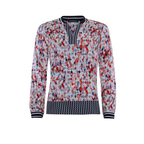 Anotherwoman ladieswear blouses & tunics - v-neck blouse in multicolour print long sleeves. available in size 36,38,40,42,44,46 (blue,multicolor,off-white,red)