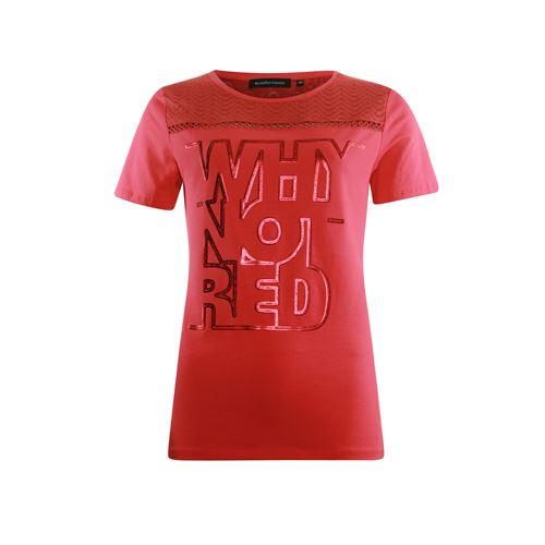 Anotherwoman dameskleding t-shirts & tops - t-shirt met kant detail en tekst opdruk. beschikbaar in maat 44,46 (rood)