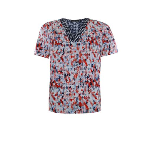 Anotherwoman ladieswear blouses & tunics - v-neck blouse in multicolour print short sleeves. available in size 36,38,40,42,44 (blue,multicolor,off-white,red)
