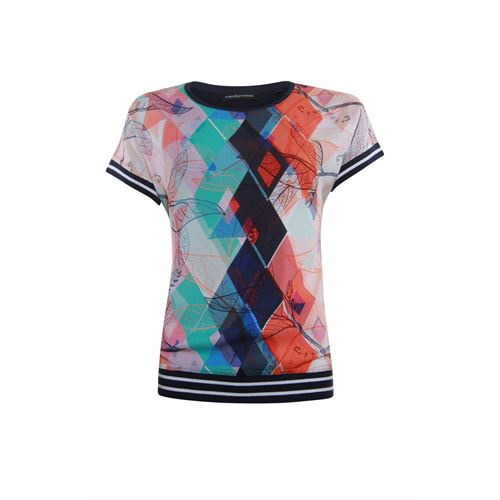 Anotherwoman ladieswear t-shirts & tops - t-shirt woven front jersey back. available in size 36,38,42 (blue,multicolor,off-white,red)