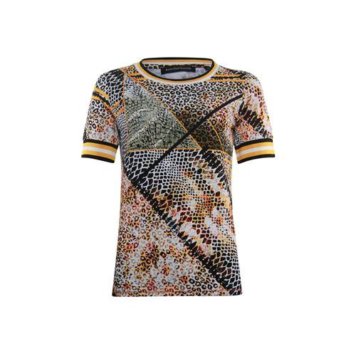 Anotherwoman dameskleding t-shirts & tops - t-shirt in multicolour print &  streep rib details. beschikbaar in maat 36,40,44 (ecru,multicolor,zwart)