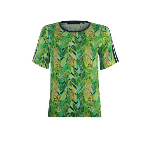 Anotherwoman ladieswear blouses & tunics - o-neck blouse in multicolour print short sleeve. available in size 36,38,40,42,44,46 (blue,green,multicolor,yellow)