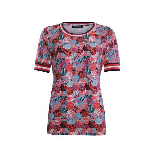 Anotherwoman ladieswear t-shirts & tops - round neck t-shirt with striped rib details. available in size 36,38,40,42 (blue,multicolor,off-white,red)