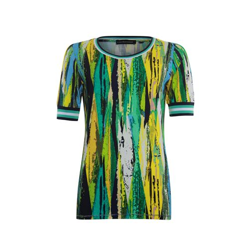 Anotherwoman ladieswear t-shirts & tops - round neck t-shirt with striped rib details. available in size 36,38,40,42,44 (blue,green,multicolor,yellow)