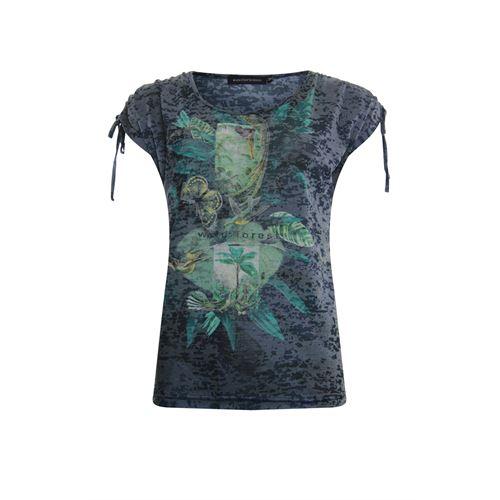 Anotherwoman dameskleding t-shirts & tops - t-shirt met koord detail op de schouder. beschikbaar in maat 36,38,40,42 (blauw,geel,groen,multicolor)