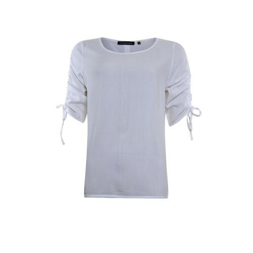 Anotherwoman dameskleding t-shirts & tops - geweven top met plooi koord detail in de mouw. beschikbaar in maat 36,40,42,44,46 (ecru)