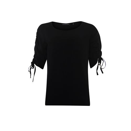 Anotherwoman ladieswear t-shirts & tops - woven top with gathering cord detail at sleeve. available in size 46 (black)
