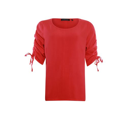 Anotherwoman ladieswear t-shirts & tops - woven top with gathering cord detail at sleeve. available in size 42 (red)