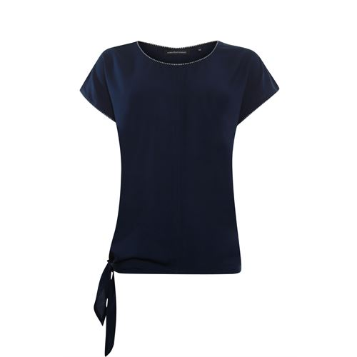 Anotherwoman ladieswear t-shirts & tops - woven top with bow side. available in size 38,40,42,46 (blue)