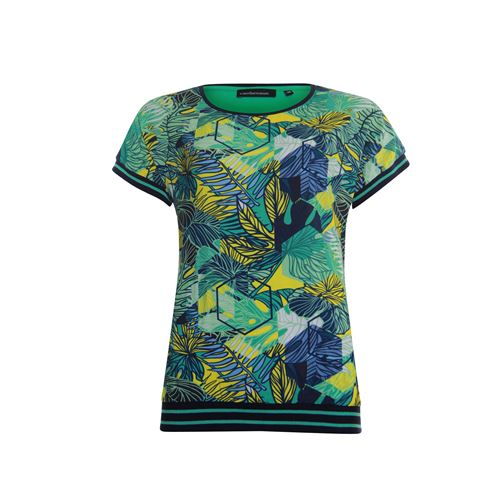 Anotherwoman ladieswear t-shirts & tops - t-shirt with multicolour front & jersey back. available in size 42 (blue,green,multicolor,yellow)