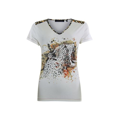 Anotherwoman ladieswear t-shirts & tops - v-neck t-shirt with artwork at front panel. available in size 38,44 (off-white)