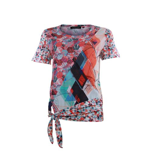 Anotherwoman ladieswear blouses & tunics - blouse made in mixed multicolour prints with bow. available in size 38,40,44,46 (blue,multicolor,off-white,red)