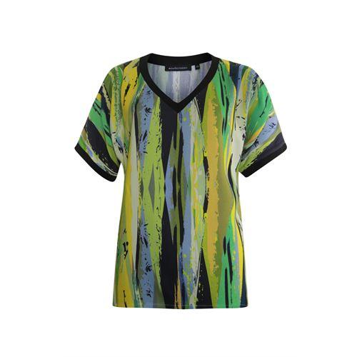 Anotherwoman dameskleding blouses & tunieken - v-neck top in multicolour print met open schouder. beschikbaar in maat 42 (blauw,geel,groen,multicolor)