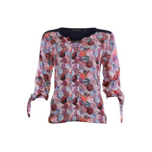 Anotherwoman dameskleding blouses & tunieken - v-hals blouse multicolour print met strik mouw. beschikbaar in maat 36,38,40,42,44,46 (blauw,ecru,multicolor,rood)