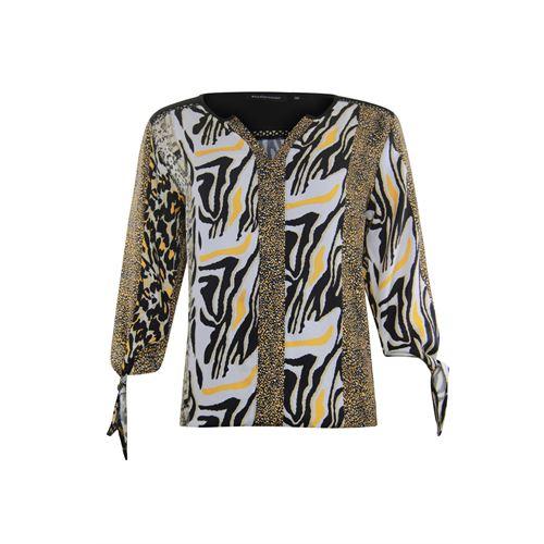 Anotherwoman dameskleding blouses & tunieken - v-hals blouse multicolour print met strik mouw. beschikbaar in maat 36,38,42,44,46 (ecru,multicolor,zwart)