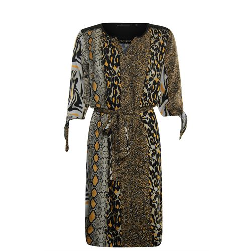 Anotherwoman ladieswear dresses - v-neck dress  multicolour print with bow sleeve. available in size 36,38,40,42,44,46 (black,multicolor,off-white)