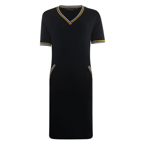 Anotherwoman ladieswear dresses - v-neck dress with striped rib details. available in size 36 (black)