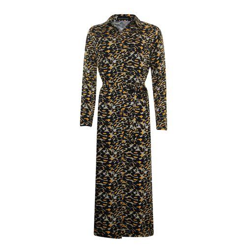 Anotherwoman dameskleding jurken - lange overhemd jurk in multicolour print. beschikbaar in maat 38,40,42,44,46 (bruin,multicolor,zwart)