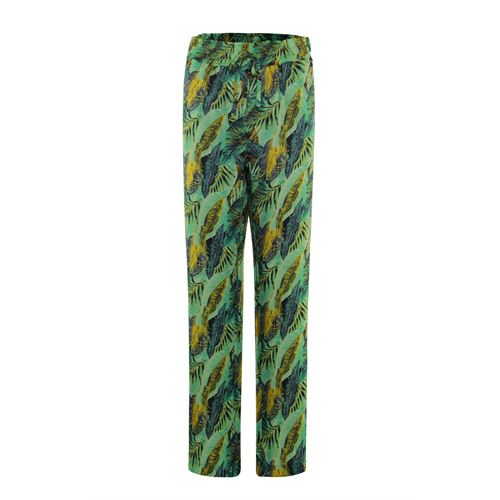Anotherwoman ladieswear trousers - printed pant with straight wide legs. available in size 36,38,42,44,46 (green,multicolor,off-white,yellow)