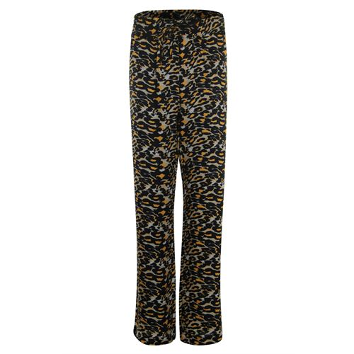 Anotherwoman ladieswear trousers - printed pant with straight wide legs. available in size 46 (black,brown,multicolor)