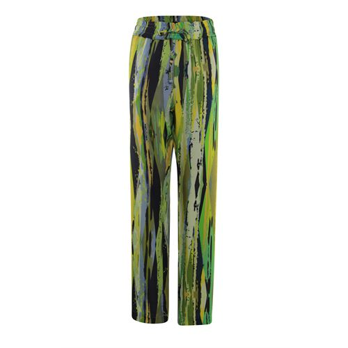 Anotherwoman ladieswear trousers - printed pant with straight wide legs. available in size 36,38,42 (blue,green,multicolor,yellow)