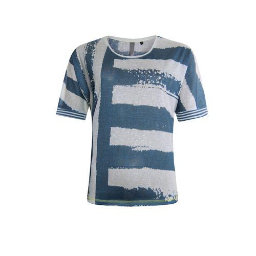 Poools dameskleding t-shirts & tops - t-shirt paint stripe. beschikbaar in maat 36,38,40,42,44,46 (blauw)