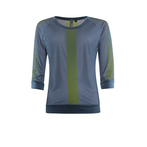 Poools dameskleding truien & vesten - sweater dubbellaags contrast. beschikbaar in maat 36,38,40,42,44,46 (blauw)