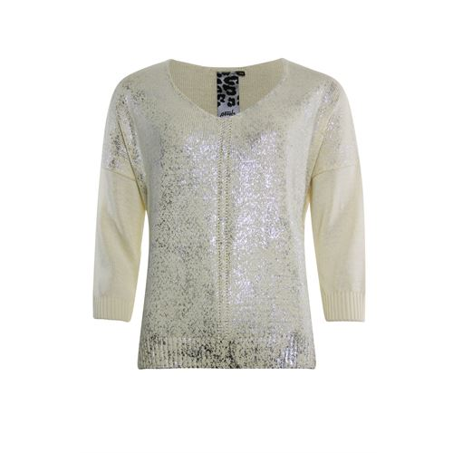 Poools dameskleding truien & vesten - sweater v-hals katoenmix. beschikbaar in maat 44 (ecru)
