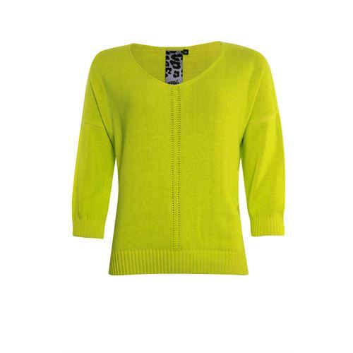 Poools dameskleding truien & vesten - sweater v-hals katoenmix. beschikbaar in maat  (geel)