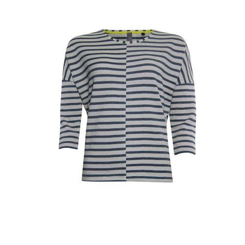 Poools dameskleding t-shirts & tops - sweater contrast en gestreept. beschikbaar in maat 36,38,40,42,44,46 (blauw)