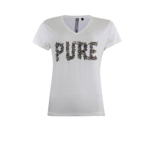 Poools dameskleding t-shirts & tops - t-shirt v neck  pure. beschikbaar in maat  (ecru)