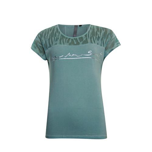 Poools dameskleding t-shirts & tops - t-shirt text. beschikbaar in maat 44 (groen)