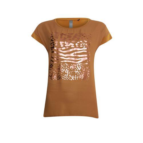 Poools dameskleding t-shirts & tops - t-shirt foil print front. beschikbaar in maat  (bruin)