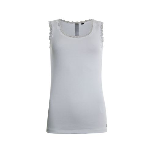 Poools dameskleding t-shirts & tops - singlet rib met kant. beschikbaar in maat 46 (ecru)