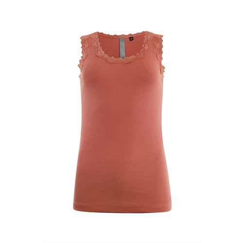Poools dameskleding t-shirts & tops - singlet rib met kant. beschikbaar in maat 42,44 (rood)