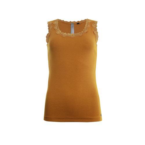 Poools dameskleding t-shirts & tops - singlet rib met kant. beschikbaar in maat 46 (bruin)
