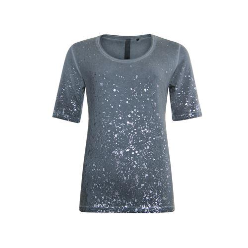 Poools dameskleding t-shirts & tops - t-shirt foil print allover. beschikbaar in maat 44 (grijs)