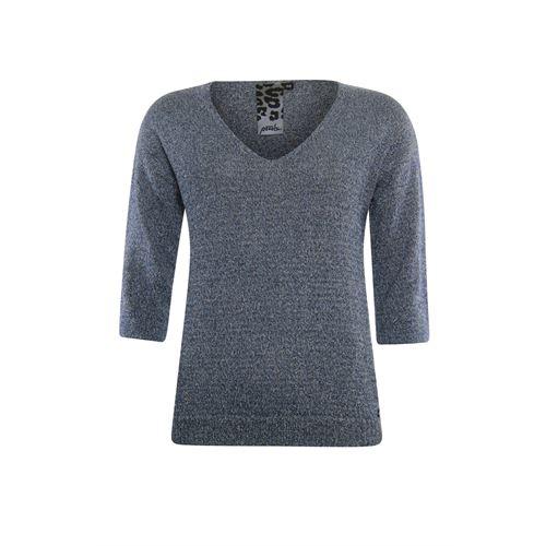 Poools dameskleding truien & vesten - sweater v-hals lurex. beschikbaar in maat 36,38,40,42,44,46 (blauw)