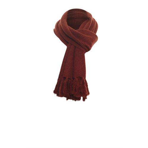 Anotherwoman dameskleding accessoires - sjaal kwastjes. beschikbaar in maat one size (bruin)