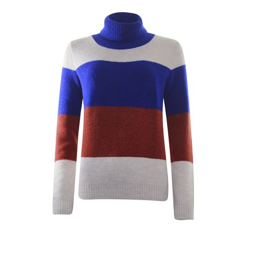 Anotherwoman ladieswear pullovers & vests - pullover colourblock stripe. available in size 40,42,44,46 (blue,brown,multicolor)