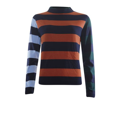 Anotherwoman ladieswear pullovers & vests - pullover colourblock stripe. available in size 36,38,40,42,44,46 (blue,brown,green,multicolor)