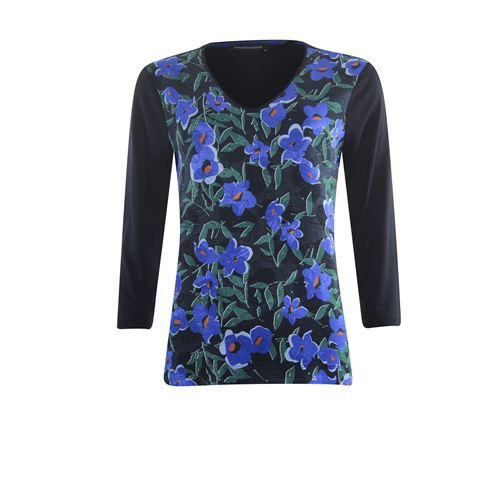Anotherwoman ladieswear t-shirts & tops - t-shirt v-neck queen flower. available in size 36,38,40,42,44,46 (black,blue,green,multicolor)