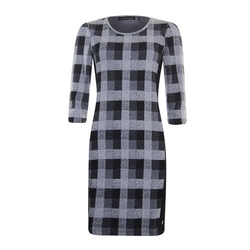 Anotherwoman ladieswear dresses - check dress 3/4 sleeve. available in size 36,38,40,42,44 (black,grey,multicolor,off-white)