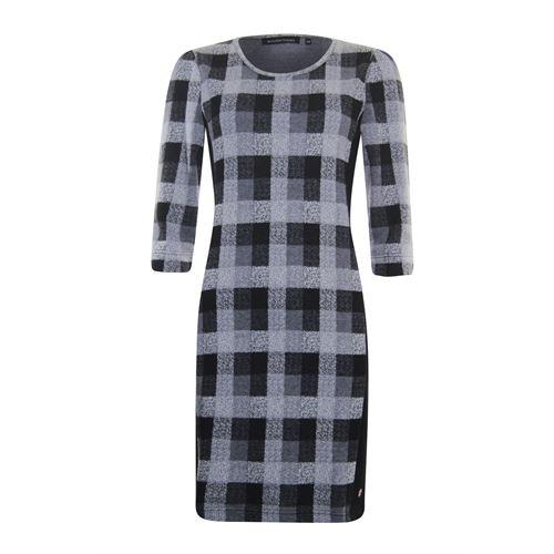 Anotherwoman dameskleding jurken - ruit jurk 3/4 mouw. beschikbaar in maat 36,38,40,42,44 (ecru,grijs,multicolor,zwart)