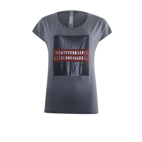Poools dameskleding t-shirts & tops - t-shirt artwork. beschikbaar in maat  (grijs)