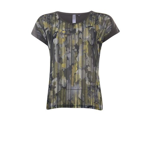 Poools ladieswear t-shirts & tops - t-shirt mixed print. available in size 38,40,42,44,46 (black,multicolor,olive,red)